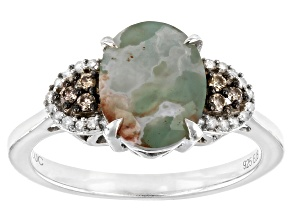 Aquaprase™ With Champagne & White Diamond Sterling Silver Ring 0.16ctw