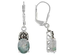 Aquaprase™ & Diamond Sterling Silver Earrings 0.16ctw
