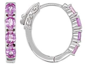 Pink Ceylon Sapphire Sterling Silver Hoop Earrings 1.43ctw