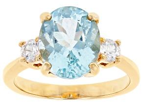 Blue Cabo Delgado Apatite & White Zircon 18K Yellow Gold Over Silver Ring 3.11ctw