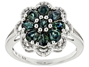 Ocean Sapphire Rhodium Over Silver Floral Ring 1.64ctw