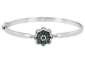 Ocean Sapphire &  Diamond Accent Rhodium Over Silver Floral Bracelet 1.67ctw