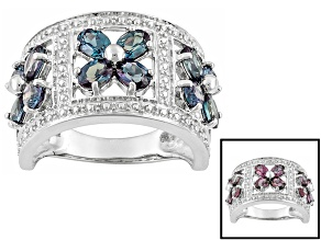 Lab Created Color Change Alexandrite Sterling Silver Band Ring 2.52ctw