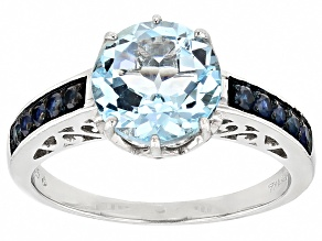 4.27ct Round Glacier Topaz ™ With .38ctw Round Blue Sapphire Rhodium Over Sterling Silver Ring