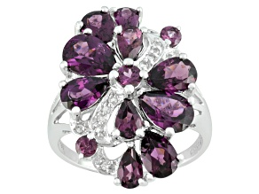 Purple Rhodolite And Round White Topaz Sterling Silver Ring