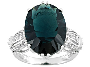 Teal Fluorite Rhodium Over Sterling Silver Ring 12.42ctw