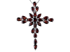 .61ct Round And 6.82ctw Pear Shape Vermelho Garnet™ Sterling Silver Cross Pendant With Chain