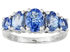 Blue Tanzanite Rhodium Over Sterling Silver 5-Stone Ring 2.11ctw