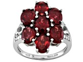 Red garnet sterling silver cluster ring 6.81ctw