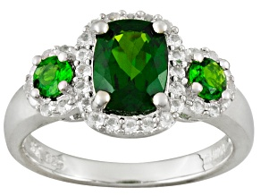 Green Chrome Diopside And White Topaz Sterling Silver 3-Stone Ring 2.06ctw