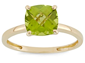 Peridot 10kt Yellow Gold Solitaire Ring 2.04ct