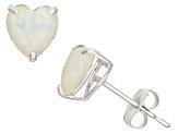 Synthetic White Opal 10kt White Gold Stud Earrings 1.48ctw