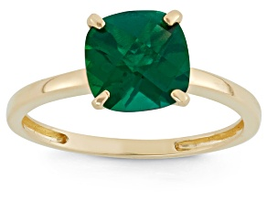 Lab Created Emerald 10kt Yellow Gold Solitaire Ring 2.04ct