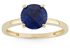 Lab Created Blue Sapphire 10kt Yellow Gold Solitaire Ring 2.04ct
