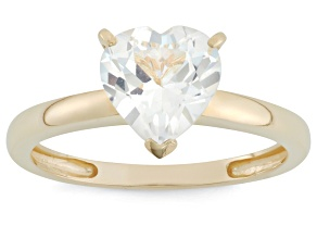 Lab Created White Sapphire 10kt Yellow Gold Solitaire Ring 1.71ct