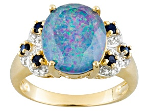 Multi Color Australian Opal Triplet 10k Yellow Gold Ring 1.00ctw
