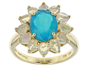 Paraiba Color Ethiopian Opal 10k Yellow Gold Ring 2.18ctw