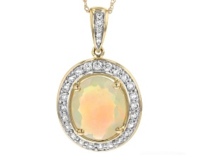 Ethiopian Opal 10k Yellow Gold Pendant 2.97ctw
