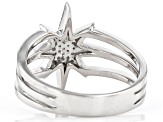 White Diamond Rhodium Over Sterling Silver Celestial Ring 0.10ctw