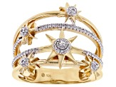 White Diamond 14k Yellow Gold Over Sterling Silver 4-Row Star Ring 0.15ctw