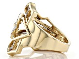 White Diamond 14k Yellow Gold Over Sterling Silver Open Design Ring 0.20ctw