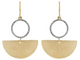 White Diamond 14k Yellow Gold Over Sterling Silver Satin Matte Dangle Earrings 0.15ctw