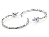 White Diamond Rhodium Over Sterling Silver Open Back Hoop Earrings 0.10ctw