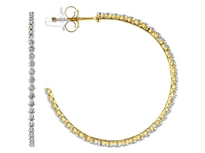 White Diamond 14k Yellow Gold Over Sterling Silver Open Back Hoop Earrings 0.10ctw