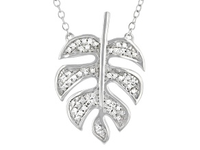 "White Diamond Rhodium Over Sterling Silver 20"" Leaf Necklace 0.10ctw"