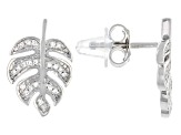 White Diamond Accent Rhodium Over Sterling Silver Palm Leaf Earrings