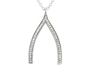 "White Diamond Accent Rhodium Over Sterling Silver Wishbone Pendant With 20"" Chain"