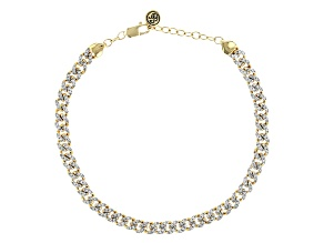 White Diamond 14k Yellow Gold Over Sterling Silver Cuban Link Bracelet 0.25ctw