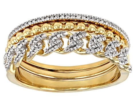 White Diamond 14k Yellow Gold Over Sterling Silver Band Set 0.10ctw