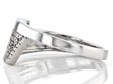 White Diamond Rhodium Over Sterling Silver Bypass Ring 0.15ctw