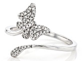 White Diamond Accent Rhodium Over Sterling Silver Butterfly Bypass Ring