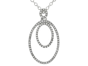 "White Diamond Rhodium Over Sterling Silver Pendant W/ 20"" Cable Chain 0.15ctw"