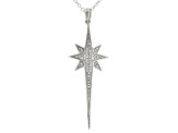 White Diamond Accent Rhodium Over Sterling Silver Celestial Pendant W/ Cable Chain