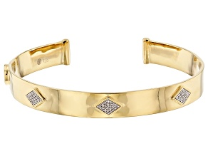 White Diamond Accent 14k Yellow Gold Over Sterling Silver Cuff Bracelet