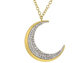 White Diamond 14k Yellow Gold Over Sterling Silver Satin Matte Moon Necklace 0.10ctw