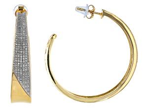White Diamond 14k Yellow Gold Over Sterling Silver Open Back Hoop Earrings 0.20ctw