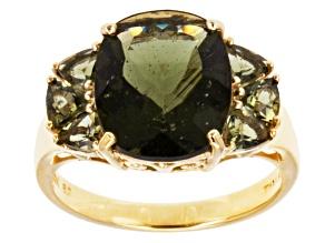 Green Moldavite 10k Yellow Gold Ring 3.95ctw.