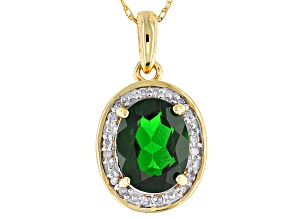 Green Chrome Diopside 10k Yellow Gold Pendant With Chain 1.70ctw