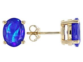 Blue Ethiopian Opal 10k Yellow Gold Earrings 1.36ctw.