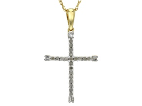 14k Yellow Gold Over Sterling Silver Diamond Pendant .27ctw