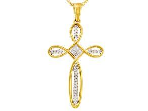 .16ctw Round And Princess Cut White Diamond 14k Yellow Gold Over Silver Cross Pendant
