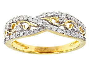 14k Yellow Gold Over Sterling Silver Diamond Ring .33ctw