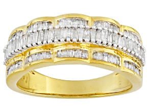 14k Yellow Gold Over Sterling Silver Diamond Ring .65ctw
