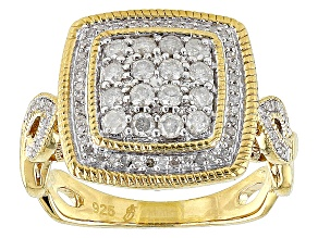 14k Yellow Gold Over Sterling Silver Diamond Ring .62ctw