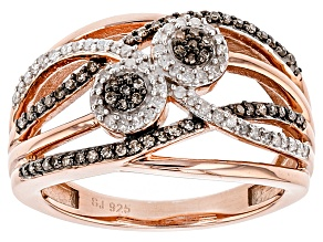 Champagne And White Diamond 14k Rose Gold Over Sterling Silver Ring .35ctw