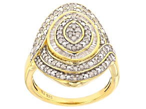 Diamond 14k Yellow Gold Over Sterling Silver Ring .95ctw